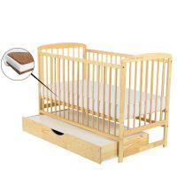 BabyNeeds - Patut din lemn Ola 120x60 cm cu sertar + Saltea 12 cm Natur