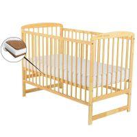 BabyNeeds - Patut din lemn Ola 120x60 cm Natur+ Saltea 12 cm