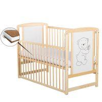 BabyNeeds - Patut din lemn Timmi 120x60 cm cu laterala culisanta Natur + saltea 10 cm