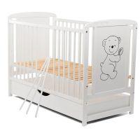 BabyNeeds - Patut din lemn Timmi 120x60 cm cu sertar Alb