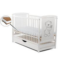 BabyNeeds Patut din lemn Timmi 120x60 cm cu sertar alb+ Saltea 12 cm