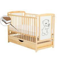BabyNeeds - Patut din lemn Timmi 120x60 cm cu sertar Natur + saltea 10 cm