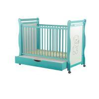 Baby Needs - Patut din lemn Jas Ursulet 120x60 cm cu sertar mint