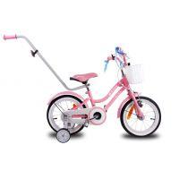 Bicicleta copii 16 inch cu roti ajutatoare, maner parinti, cos accesorii si claxon Star Bike pink