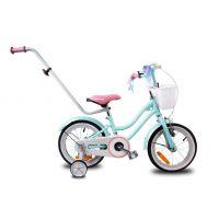 Bicicleta fete 14 inch cu roti ajutatoare, maner parinti, cos accesorii si claxon Star Bike turcoaz
