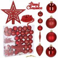 Set complet decorare brad Craciun, 51 piese, include globuri si stea, rosu