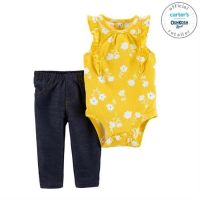 Set 2 piese body floral si pantaloni lungi Carters