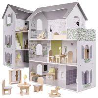 Casuta de papusi My Grey Dollhouse, include accesorii