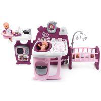 Centru de ingrijire pentru papusi Smoby Baby Nurse Doll`s Play Center mov cu 3 parti si 23 accesorii