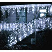 Instalatie luminoasa craciun 1500 leduri cu telecomanda, 68 m, exterior/interior, 8 functii, tip perdea  de turturi alb rece