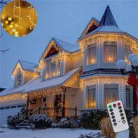 Instalatie luminoasa craciun 1500 leduri cu telecomanda, 68 m, exterior/interior, 8 functii, tip perdea de turturi alb cald