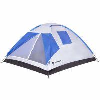 Cort camping 4 persoane Springos, 240 x 210 x 130 cm, plasa insecte si filtru UV, alb/albastru