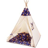 Cort copii stil indian Teepee Tent Kidizi Felix the Fox, include covoras gros si 2 perne
