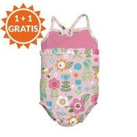 Costum de baie fetita cu scutec inot integrat IPlay Pink 12 luni SPF50+