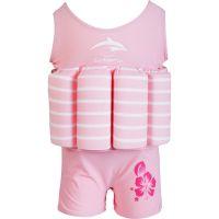 Konfidence - Costum inot copii cu sistem de flotabilitate ajustabil pink stripe 4-5 ani