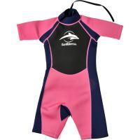 Konfidence - Costum inot din neopren pentru copii Shorty Wetsuit pink