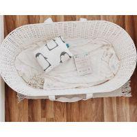 Cosulet bebe pentru dormit handmade din material ecologic Ahoj Baby alb, include stand