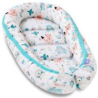 Cosulet bebelus pentru dormit Jukki Baby Nest Cocoon XL 90x50 cm Happy Friends