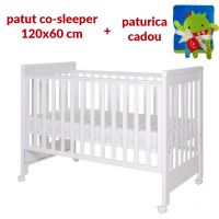 Treppy - Patut co-sleeping 120x60 cu laterala culisanta si roti Dreamy Plus Alb