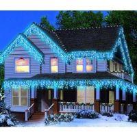 Instalatie luminoasa de craciun 500 leduri, 23 m,  exterior/interior, tip perdea de turturi albastru