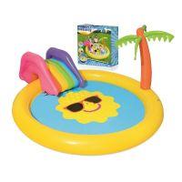 Piscina pentru copii cu tobogan si fantana Bestway Sunny Palm 237x201x104cm