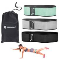 Benzi elastice Hip Band Springos, set 3 bucati rezistenta diferita grey/green/black