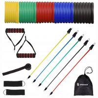 Benzi elastice fitness Springos, set 11 componente, intensitati diferite