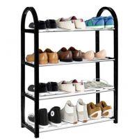 Raft pantofi 4 niveluri, 64x50x19 cm, negru - argintiu