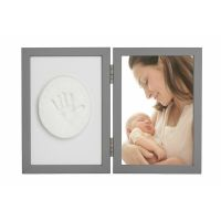 Kit rama foto cu amprenta Tiny Memories Baby HandPrint Grey