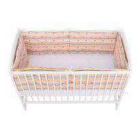 BabyNeeds - Set aparatori pat, 120x60 cm, Inimioare, Dungi multicolore