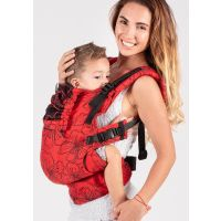 Marsupiu ergonomic bumbac organic Isara The One blooom in rouge