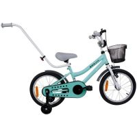 Bicicleta copii 16 inch cu roti ajutatoare, maner parinti, cos accesorii si claxon BMX Junior turcoaz