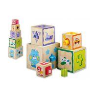 Jucarie din lemn Cuburi cu sortator de forme Joueco