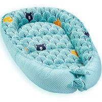 Cosulet bebelus pentru dormit Jukki Baby Nest Cocoon XL 90x50 cm Mint forest