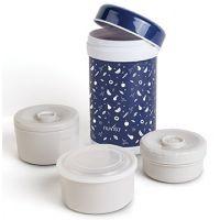 Nuvita -Termos inox mancare solida cu 3 recipiente 1200 ml  albastru