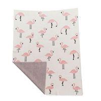 Niu - Paturica din bumbac organic cu doua fete 80x100 cm Flamingo