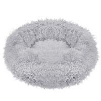 Culcus pufos si moale pentru pisici si caini, 80 cm, gri