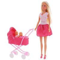 Papusa Simba 29 cm cu carucior si accesorii, Steffi Love Sunshine Twins, roz