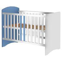 Patut copii din lemn Anne 120x60 cm alb-albastru