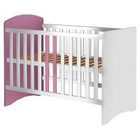 Patut copii din lemn Anne 120x60 cm alb-roz