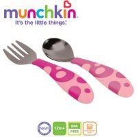 Munchkin - Set 2 tacamuri Lingurita si Furculita Inox 12L+ Roz
