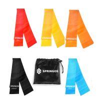 Set 5 benzi elastice fitness/pilates cu intensitati diferite Springos