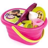 Jucarie Smoby Cos picnic Masha and The Bear si set vesela cu 21 accesorii