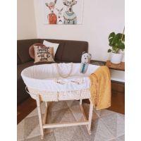 Cosulet bebe pentru dormit handmade din material ecologic Ahoj Baby natur, include stand cu sistem de leganare