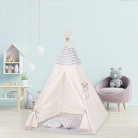 Cort copii stil indian Teepee Tent ZigZag Grey, include covoras gros si 2 perne