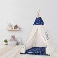 Cort copii stil indian Teepee Tent Dark Blue Stars, include covoras si 2 pernute