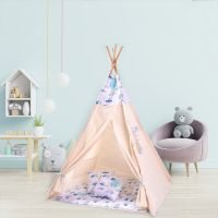 Cort copii stil indian Teepee Tent Kidizi Busy City, include covoras gros si 2 perne