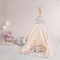 Cort copii stil indian Teepee Tent Kidizi Dancing Panda, include covoras gros si 2 perne