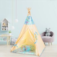Cort copii stil indian Teepee Tent Kidizi Blue Moon, include covoras gros si 2 perne