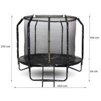 Trambulina copii 244 cm Skyflyer Premium Pro, include scara si plasa de protectie